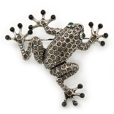 Dim Grey Austrian Crystal Leaping Frog Brooch In Burn Silver Tone - 50mm Length