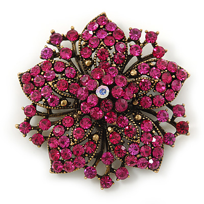 Victorian Corsage Flower Brooch In Antique Gold Tone & Bright Magenta Crystals - 55mm Diameter