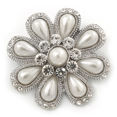 Bridal Rhodium Plated White Glass Pearl, Clear Crystals 'Daisy' Brooch - 50mm Diameter