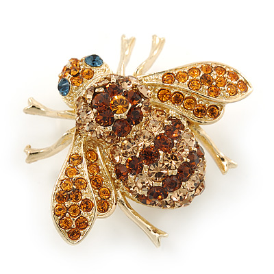 Amber/ Light Topaz Austrian Crystal 'Bee' Brooch In Gold Tone Plating - 30mm