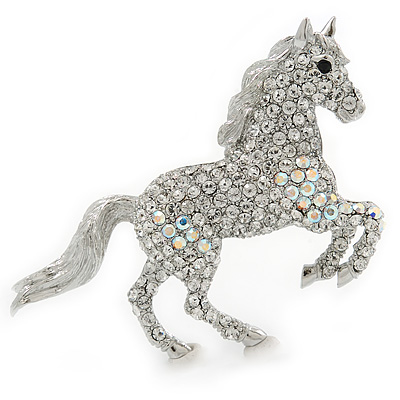 Clear/ AB Pave Set Austrian Crystal 'Horse' Brooch - 65mm Across - main view