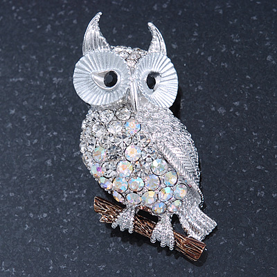 Clear, AB Swarovski Crystal Owl Brooch/ Pendant In Rhodium Plating - 40mm Length