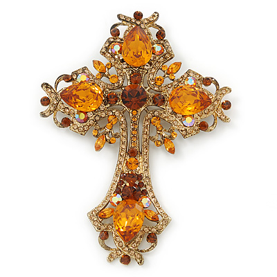 Statement Topaz Coloured Austrian Crystal Cross Brooch/ Pendant In Gold Tone Metal - 85mm Length - main view