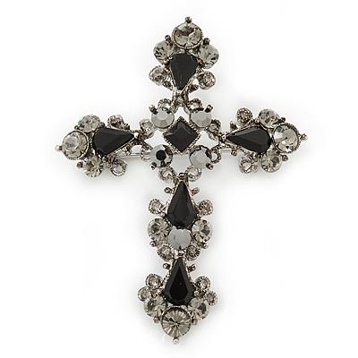 Victorian Black, Hematite Austrian Crystal Cross Brooch/ Pendant In Gunmetal - 58mm Length