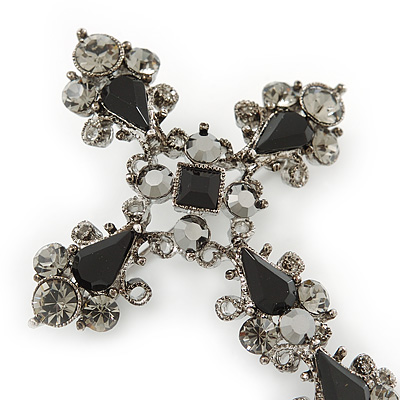 Avalaya Statement Black//Hematite Austrian Crystal Filigree Cross Brooch//Pendant in Gunmetal 58mm Length