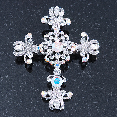 Statement Clear & AB Austrian Crystal Filigree Cross Brooch/ Pendant In Silver Tone Metal - 58mm Length