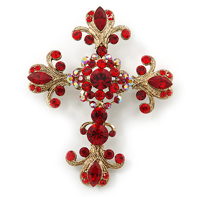 Statement Burgundy Red Austrian Crystal Filigree Cross Brooch/ Pendant In Gold Tone Metal - 70mm Length