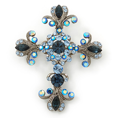 Statement Cobal/ Sky Blue Austrian Crystal Filigree Cross Brooch/ Pendant In Gunmetal - 70mm Length