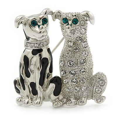 Black Enamel, Clear Crystal Two Dog Brooch In Rhodium Plating - 30mm Length