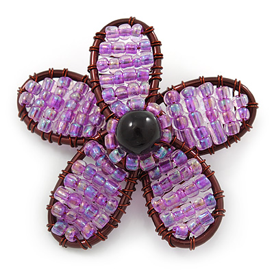 Handmade Amethyst Glass Bead 'Daisy' Brooch In Copper Tone - 55mm Diameter
