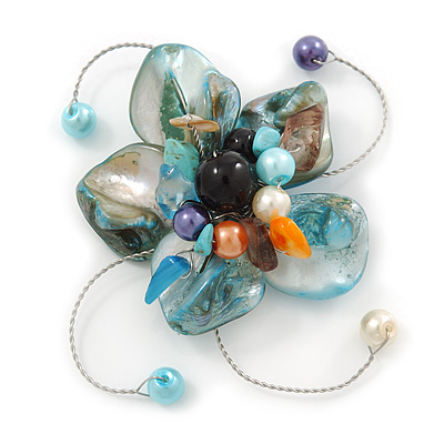 Handmade Light Blue Shell, Beaded Wire Flower Brooch In Silver Tone - 45mm Diameter