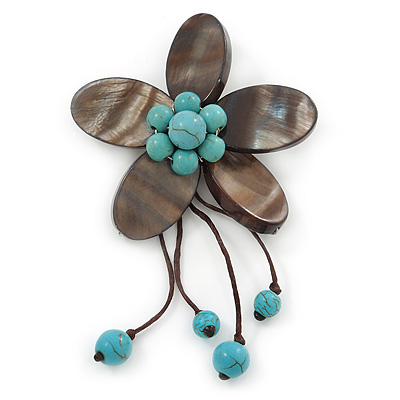 Handmade Slate Black Shell Flower With Turquoise Bead Dangle Brooch - 95mm Length
