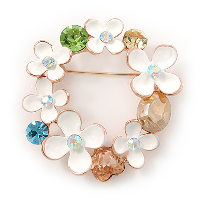 White Enamel, Cz  Floral Wreath Brooch In Gold Plating - 40mm Width