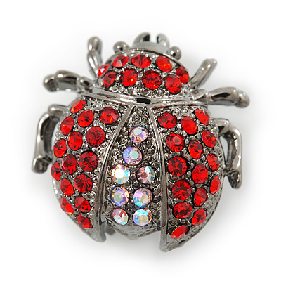 Small Red, Pink Crystal 'Ladybug' Brooch In Gun Metal - 24mm Length