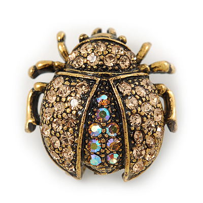 Small Topaz, AB Crystal 'Ladybug' Brooch In Gun Metal - 24mm Length