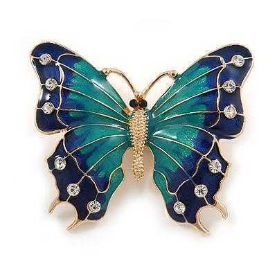 Green/ Dark Blue Enamel, Crystal Butterfly Brooch In Gold Tone - 55mm L - main view