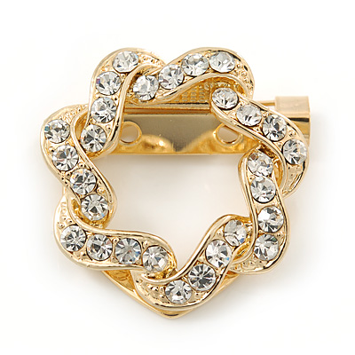 Fancy Diamante Scarf Pin/ Brooch In Gold Tone - 32mm D