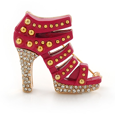 Deep Pink Enamel, Crystal High Heel Shoe Brooch In Gold Tone - 35mm L
