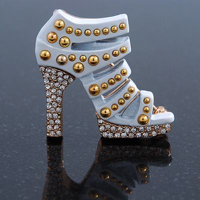 White Enamel, Crystal High Heel Shoe Brooch In Gold Tone - 35mm L