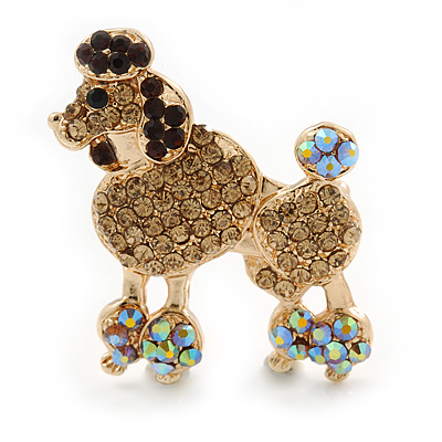 Gold Plated Citrine/ AB/ Topaz Crystal Poodle Brooch - 37mm L