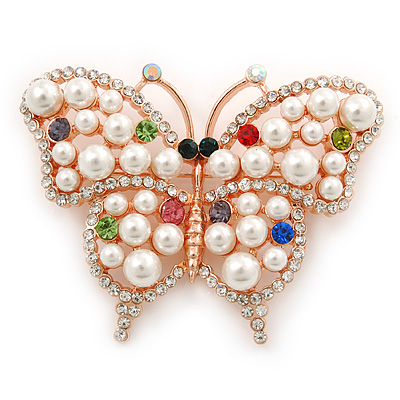 1c5128376f2 White Glass Pearl, Multicoloured Austrian Crystal Butterfly Brooch In Rose  Gold Tone Metal - 58mm
