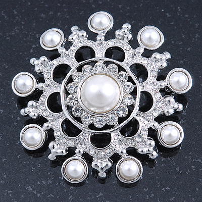 Bridal Crystal, Faux Pearl Filigree Round Brooch In Silver Tone - 47mm Diameter