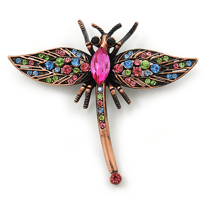 Vintage Inspired Multicoloured Austrian Crystal Dragonfly Brooch In Bronze Tone - 60mm Across