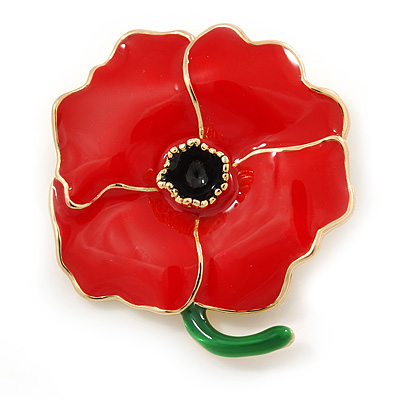 Red, Green Enamel Poppy Flower Brooch In Polished Gold Tone - 45mm L