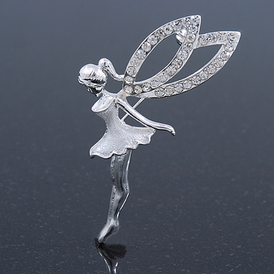 Rhodium Plated Crystal Fairy Brooch - 55mmL