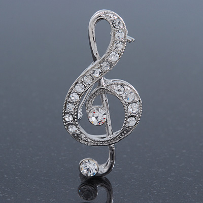 Rhodium Plated Diamante 'Treble Clef' Brooch - 50mm L