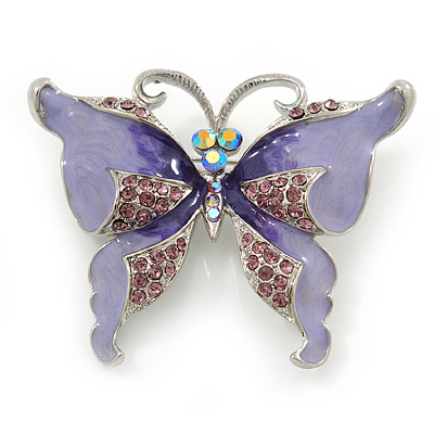 Purple Enamel Crystal Butterfly Brooch In Rhodium Plating - 50mm W - main view