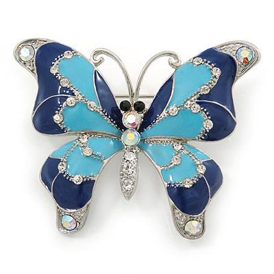 Navy & Sky Blue Enamel Crystal Butterfly Brooch In Rhodium Plating - 50mm W - main view