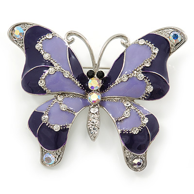Lilac/ Purple Enamel Crystal Butterfly Brooch In Rhodium Plating - 50mm W