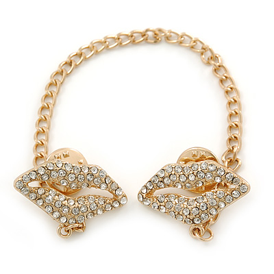 Clear Crystal Lips Collar Chain Pin Brooch In Gold Plated Metal