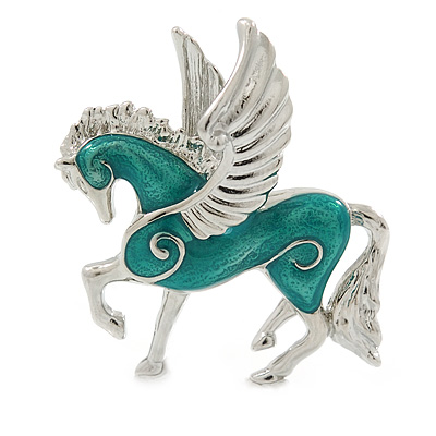 Small Green Enamel Pegasus the Winged Horse Brooch In Rhodium Plating - 35mm Across