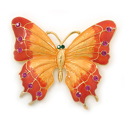 Gigantic Orange/ Pink Enamel, Crystal Butterfly Brooch In Gold Plating - 80mm Across
