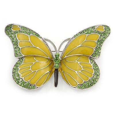 Olive/ Light Green Enamel, Crystal Butterfly Brooch In Rhodium Plating - 65mm Across