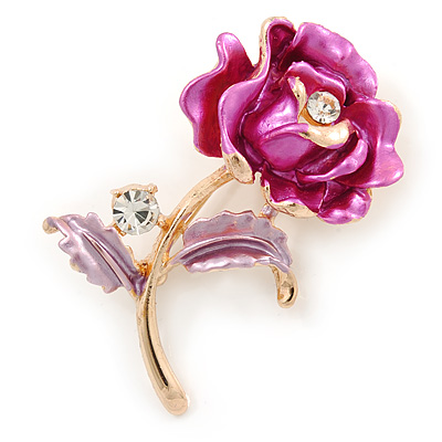 Romantic Fuchsia/ Pink Crystal Rose Flower Brooch In Gold Plating - 52mm L