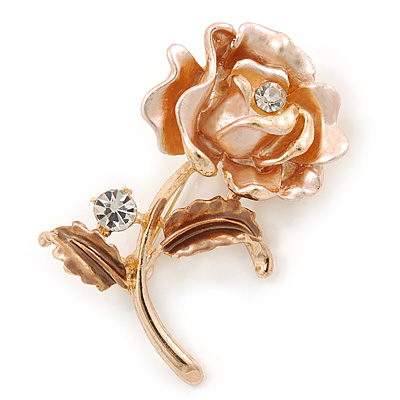 Romantic Magnolia/ Bronze Crystal Rose Flower Brooch In Gold Plating - 52mm L