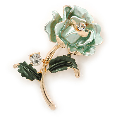 Romantic Mint/ Dark Green Crystal Rose Flower Brooch In Gold Plating - 52mm L