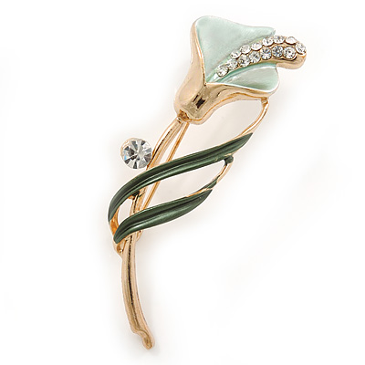 Delicate Mint/ Dark Green Crystal Calla Lily Brooch In Gold Plating - 55mm L