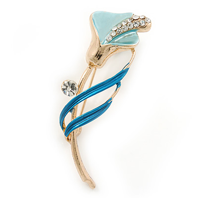 Delicate Light Blue/ Teal Crystal Calla Lily Brooch In Gold Plating - 55mm L