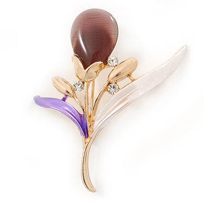 Purple/ Pink/ Plum Enamel Cat's Eye Stone Flower Brooch In Gold Tone - 50mm L