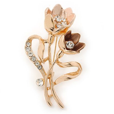 Magnolia/ Bronze Crystal Tulip Brooch In Gold Tone - 55mm L