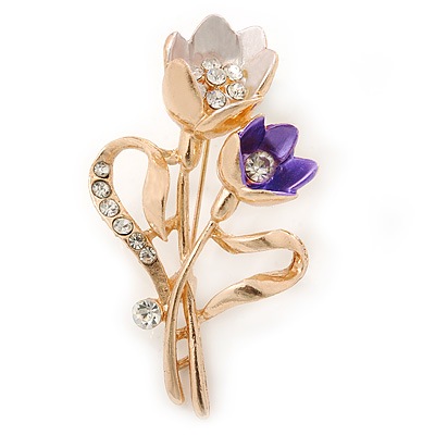 Purple/ Pink Crystal Tulip Brooch In Gold Tone - 55mm L