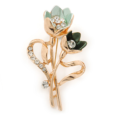 Mint/ Dark Green Crystal Tulip Brooch In Gold Tone - 55mm L