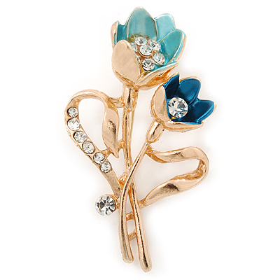 Teal/ Light Blue Crystal Tulip Brooch In Gold Tone - 55mm L