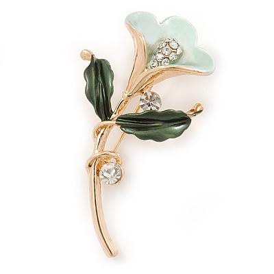 Mint/ Dark Green Enamel, Crystal Calla Lily Brooch In Gold Plating - 53mm L - main view