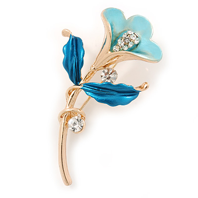 Light Blue/ Teal Enamel, Crystal Calla Lily Brooch In Gold Plating - 53mm L
