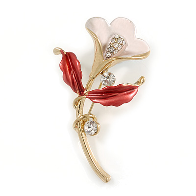 Pink/ Coral Enamel, Crystal Calla Lily Brooch In Gold Plating - 53mm L